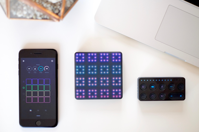 Arbeitsplatz mit ROLI Lightpad BLOCK, Loop und Live Block