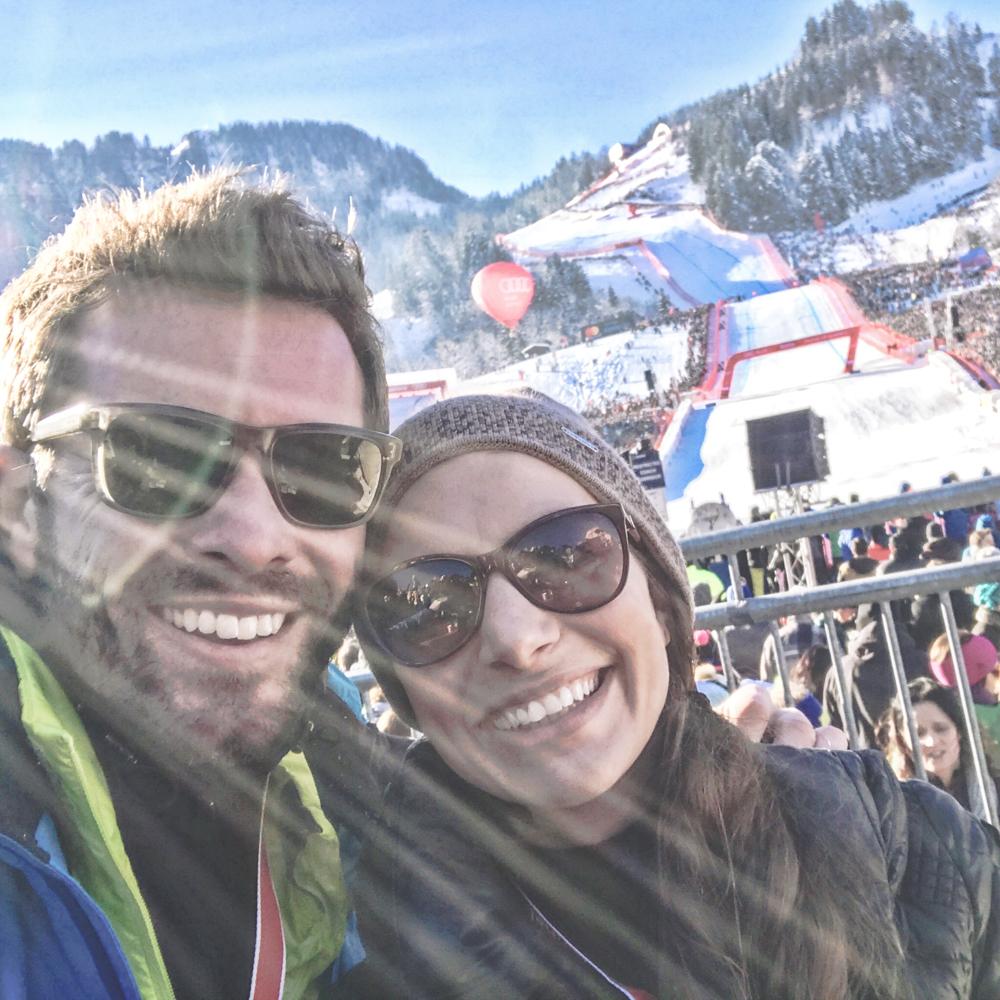 Jan und Julia Hartmann am Zieleinlauf des Hahnenkamm_rennen 2017 in Kitzbühel